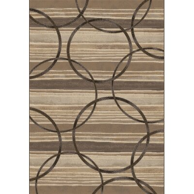 Eclipse Brown Circles Area Rug Rug Size: 53 x 77