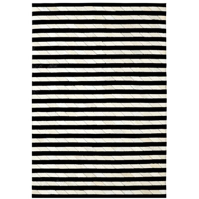 Leather Work Ivory/Black Stripe Area Rug Rug Size: 7' x 10'