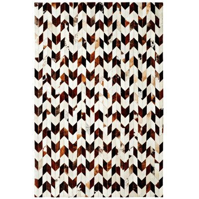 Leather Work Ivory/Brown Area Rug Rug Size: 5' x 8'