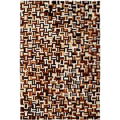 Leather Work Brown Multi Checked Rug Rug Size: 7' x 10'