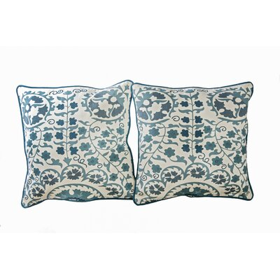 Susan Cotton Throw Pillow Color: Blue/Off White