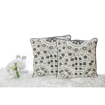 Susan Cotton Throw Pillow Color: Grey/Off White