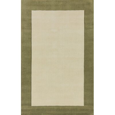 Manhattan White Solid Bordered Area Rug Rug Size: 4 x 6