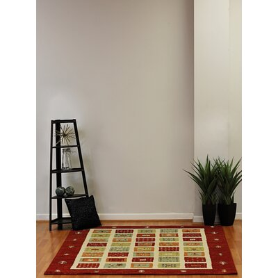 Infinity Red/Beige Area Rug Rug Size: 53 x 77