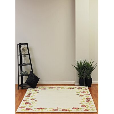 Infinity Cream Floral Area Rug Rug Size: 53 x 77
