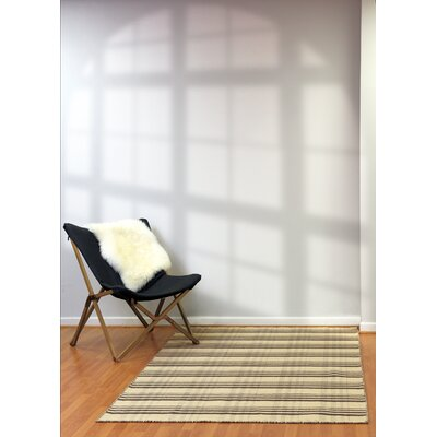 Pickering Hand Woven Wool Beige/Charcoal Area Rug Rug Size: Rectangle 5 x 8