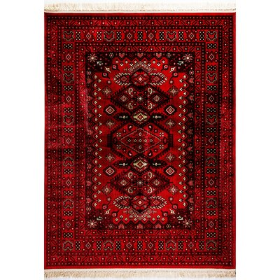 Crown Red Area Rug Rug Size: Rectangle 53 x 77