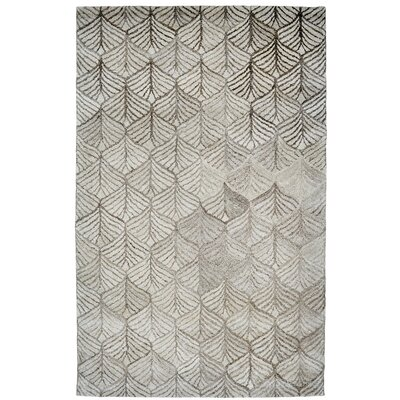 Ernesto Hand-Woven Ivory/Gray Indoor Area Rug Rug Size: Rectangle 5 x 8