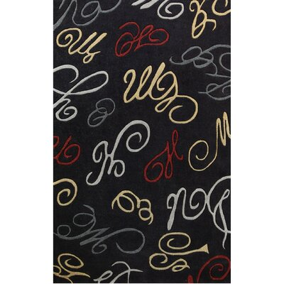 Symphony Black Abstract Swirls Area Rug Rug Size: 8 x 11