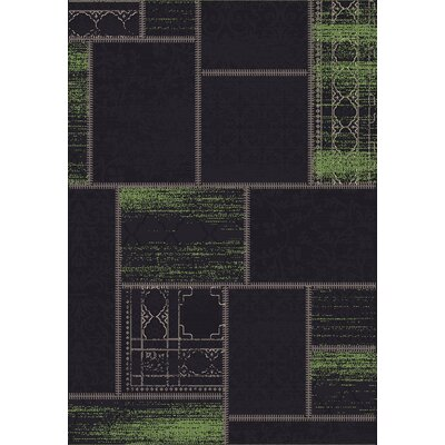 Vintage Black/Green Rug Rug Size: Rectangle 67 x 96