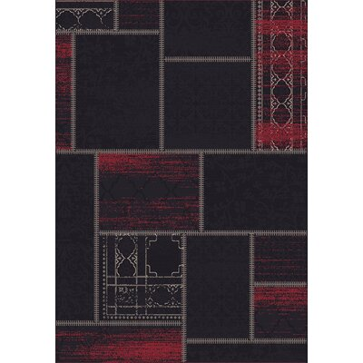Vintage Black/Red Rug Rug Size: Rectangle 53 x 77