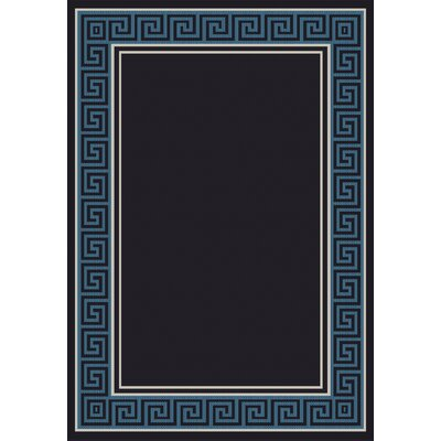 Piazza Black/Blue Area Rug Rug Size: 53 x 77