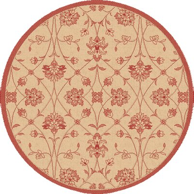Piazza Light Orange/Red Indoor/Outdoor Area Rug Rug Size: Round 53