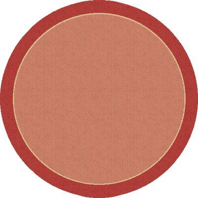 Piazza Hubbard Dark Red Outdoor Area Rug Rug Size: Round 710