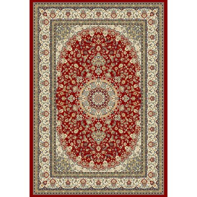Ancient Garden Red/Ivory Area Rug Rug Size: 53 x 77