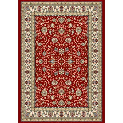 Ancient Garden Red/Ivory Area Rug Rug Size: 7'10