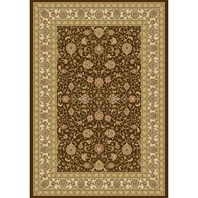 Ancient Garden Chocolate/Ivory Area Rug Rug Size: Rectangle 53 x 77