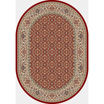 Ancient Garden Red/Ivory Area Rug Rug Size: Oval 67 x 96