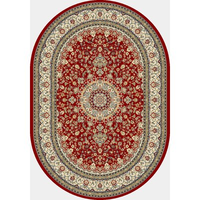 Ancient Garden Red/Ivory Area Rug Rug Size: Oval 27 x 47