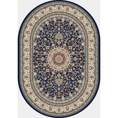 Attell Oriental Blue/Ivory Area Rug Rug Size: Oval 67 x 96