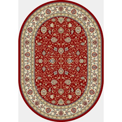 Ancient Garden Red/Ivory Area Rug Rug Size: Oval 53 x 77