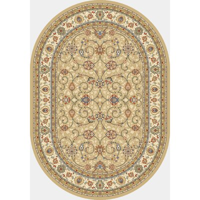 Attell Light Gold/Ivory Area Rug Rug Size: Oval 27 x 47