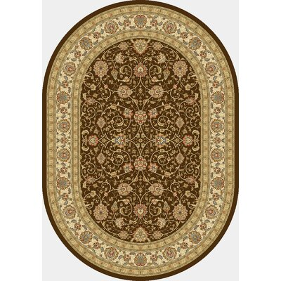 Ancient Garden Chocolate/Ivory Area Rug Rug Size: Oval 67 x 96
