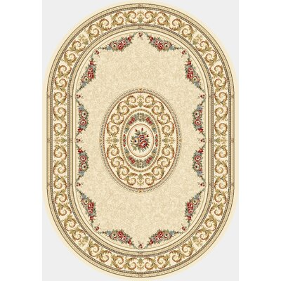 Ancient Garden Blue/Ivory Area Rug Rug Size: Oval 53 x 77