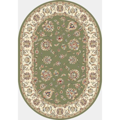 Ancient Garden Green/Ivory Area Rug Rug Size: Oval 27 x 47