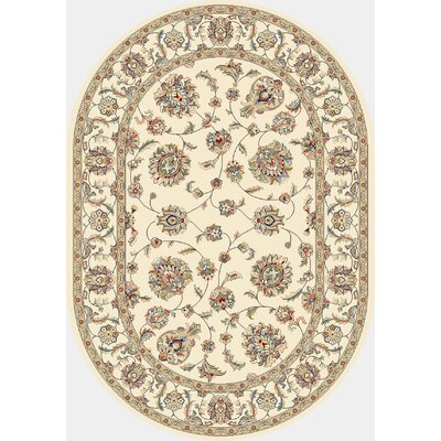 Attell Ivory/Ivory Area Rug Rug Size: Oval 67 x 96