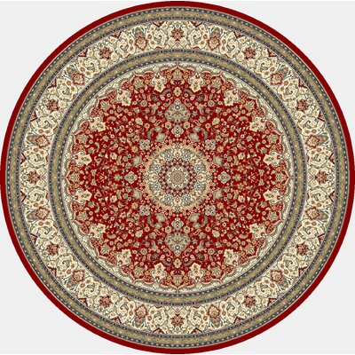 Ancient Garden Red/Ivory Area Rug Rug Size: Round 53