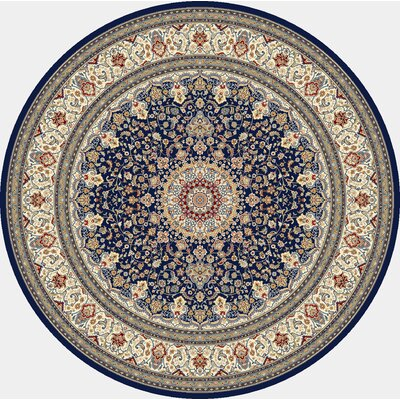 Attell Oriental Blue/Ivory Area Rug Rug Size: Round 5'3