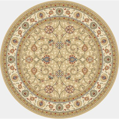Attell Light Gold/Ivory Area Rug Rug Size: Round 53