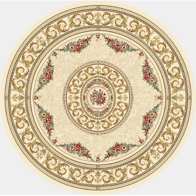 Ancient Garden Blue/Ivory Area Rug Rug Size: Round 53