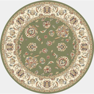 Ancient Garden Green/Ivory Area Rug Rug Size: Round 710