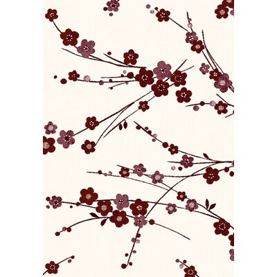 Martin Light Cream/Red Area Rug Rug Size: Rectangle 53 x 77