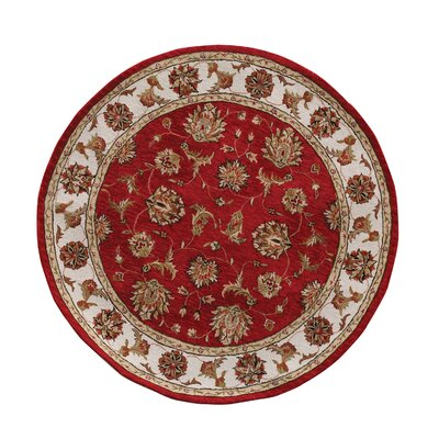 Jewel Red/Beige Rug Rug Size: Round 53