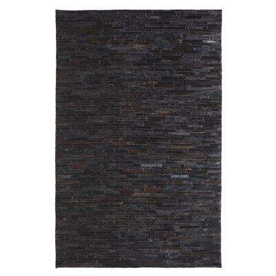 Leatherwork Black Rug Rug Size: 7 x 10