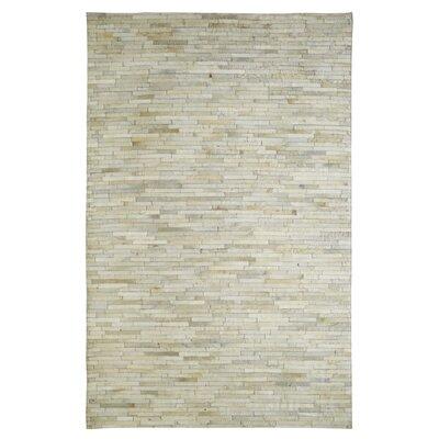 Leatherwork White Rug Rug Size: 5 x 8