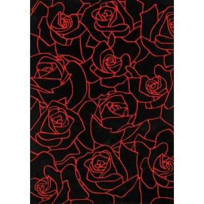 Mystique Black/Red Roses Area Rug Rug Size: Rectangle 67 x 96