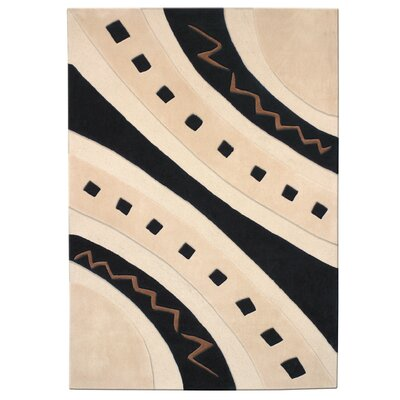 Mystique Ivory/Black Abstract Arches Area Rug Rug Size: Rectangle 67 x 96