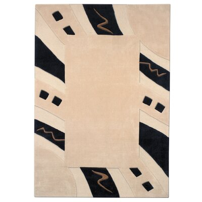 Mystique Ivory/Black Abstract Border Area Rug Rug Size: Rectangle 53 x 77
