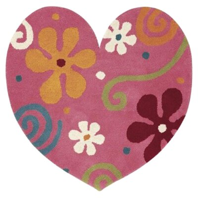 Fantasia Heart Light Pink Area Rug Rug Size: Novelty 3 x 3