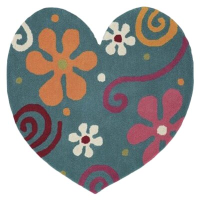 Fantasia Heart Hand-Tufted Wool Light Turquoise Area Rug Rug Size: Novelty 3 x 3