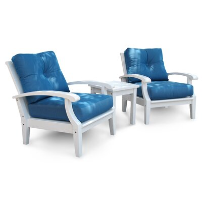 Cayman White Club 2 Piece Deep Seating Group with Cushions Fabric: Stanton Lagoon