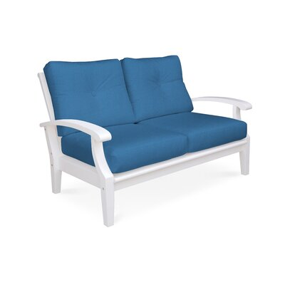 Cayman Deep Seating Loveseat with Cushions Fabric: Spa
