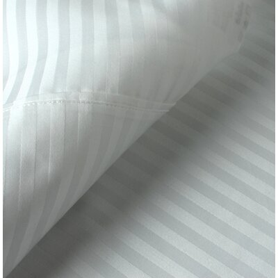 Egyptian Quality Cotton Sateen Premium 600 Plus TC Pillow Case Size: King, Color: White Stripe