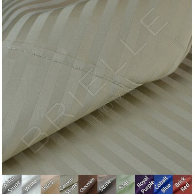 Egyptian Quality Cotton Sateen Premium 600 Plus TC Pillow Case Size: King, Color: Canvas Stripe