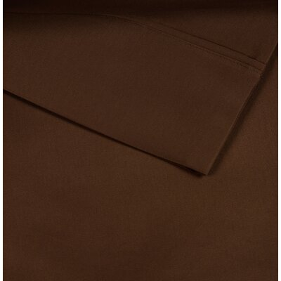 Cotton Rich Sateen Pillow Case Size: Standard, Color: Cognac Brown