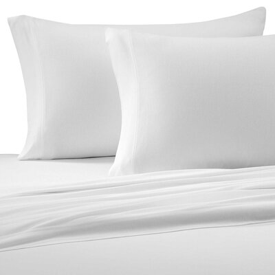 Jersey Cotton Knit Pillow Case Size: King, Color: White